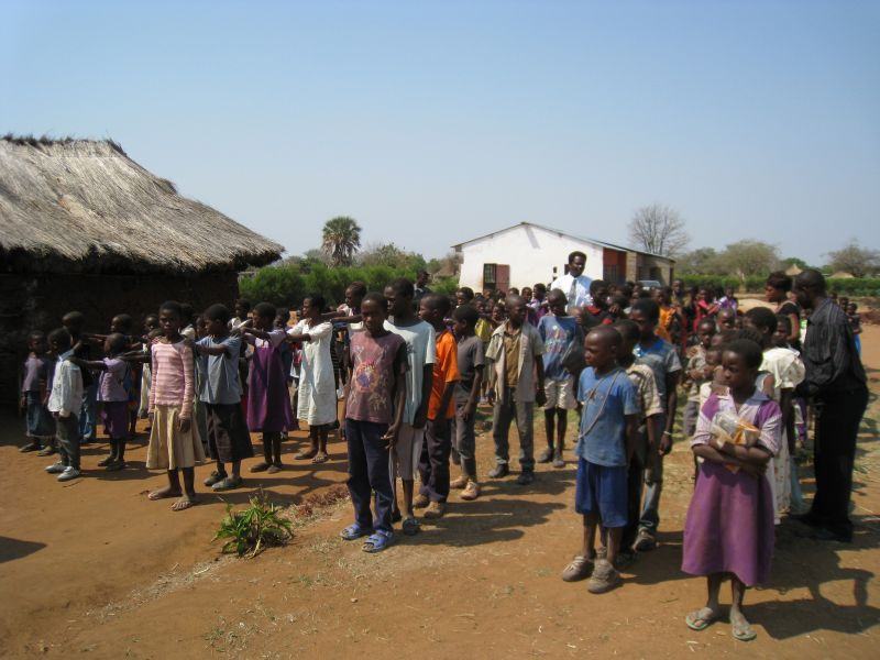 Children lining up